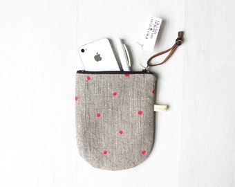 Polka dot Linen Pouch, Pink Dots on Dark Natural linen, Zippered Phone Purse, Hand Printed