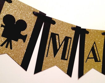 Movie Party Banner | Movie Night Banner | Movie Theme |  Hollywood Theme Decor | Movie Birthday