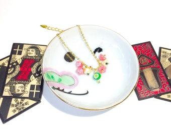 Flower Venetian glass bead bracelet