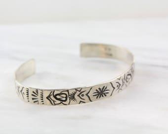 Totem Stamped Sterling Silver Cuff Bracelet