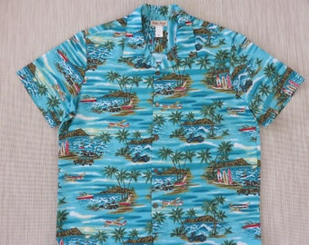 Mens Hawaiian Shirt KOKO HEAD Surfer Aloha Shirt Hawaii Airplane Tours Cruise Motorcycle Woody Vintage Camp - XL - Oahu Lew's Shirt Shack