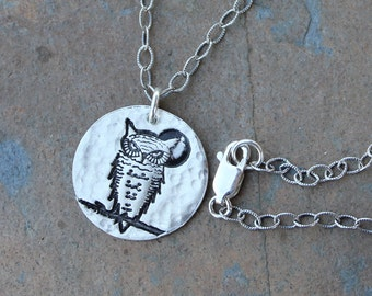 Great Horned Owl & Moon Necklace- hammered textured handmade fine silver charm, oxidized sterling chain - woodland bird - free shipping USA
