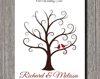 Wedding Guest Fingerprint Tree - 18x24 - Personalized Wedding Thumbprint Tree