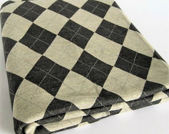 Vintage Argyle Knit Fabric-Retro 60's Argyle Diamond Pattern in Charcoal Grey and Light Grey- Fine Knit Stretch Material