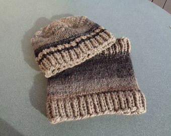 Wool Hat and snood hands boys 5 to 7 years
