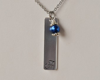 Rectangle Hand Stamped Initial Necklace w/Glass Pearl