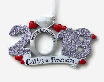 Engaged in 2018 Personalized Ornament - Glitter Sparkle Engagement Gift - Engagement Ring Christmas Ornament