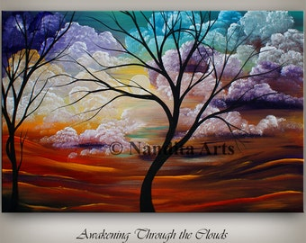 Landscape Tree Acrylic Painting, Colorful Wall decor, Fall Artwork, Abstract Landscape Painting, Oil Painting, Original Painting, by Nanidta