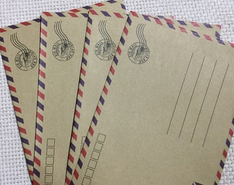Full Size Vintage Style Kraft Air Mail Envelopes, Stationery, Junk Journals, Scrapbooks, Arts and Crafts
