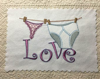 Playful Underwear LOVE 5x7 Machine Embroidery Design