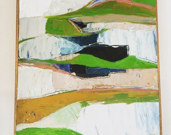 Modern abstract landscape green and pink - original or print