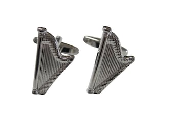 Silver Toned Harp Musical Instrument Cufflinks