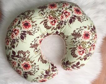 Floral Nursing Pillow / Floral Nursing Pillow Cover / Girl Baby Shower Gift, Girl Baby Bedding, Floral Crib Bedding, Floral Baby Bedding