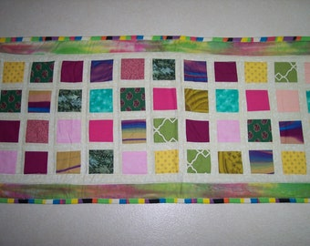 """Handmade quilted and reversible stained glass look tablerunner in size 43"""" X 17 1/2"""""""