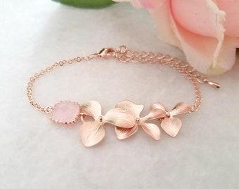 Personalized Bracelet Blush Pink ROSE GOLD Bracelet, Flower Bracelet, Orchid Bracelet, Wedding Party gifts, Bridesmaids Gift
