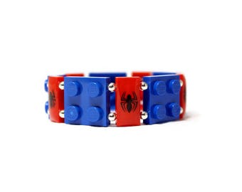 Kids Bracelet, Spider Bracelet in Red and Blue - made from New LEGO® Pieces, Geek Bracelet