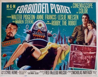 Forbidden Planet (1956) movie poster 11 x 17 science fiction Walter Pidgeon Anne Francis 23rd century Leslie Nielsen Robby the Robot Krell