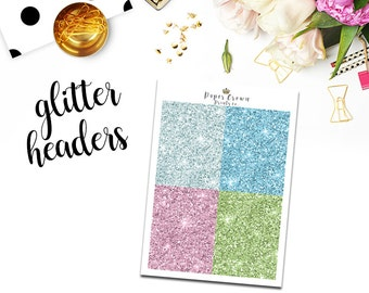 SWAN LAKE Glitter Headers/Planner Stickers for use with Erin Condren Planner/Happy Planner Stickers/Header Kit/Weekly Kit/Horizontal