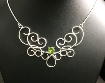 Renaissance Bohemian Elvish Necklace with 8mm Faceted Peridot, Victorian NeoClassical Necklace in Sterling Silver, OOAK Handmade necklaces