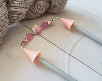 Ceramic Floral Point Protectors -for Knitting Needles -Knitter Accessory -Knit Notion -Beaded Point Protectors for Knitters -Pink -Silver