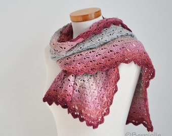 Crochet scarf, shades of pink and gray, cotton blend, R626