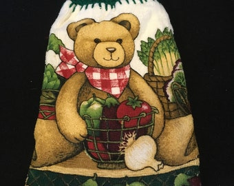 Teddy Bear with Veggies Double Sided Kitchen Hand Towel Paddy Green 2