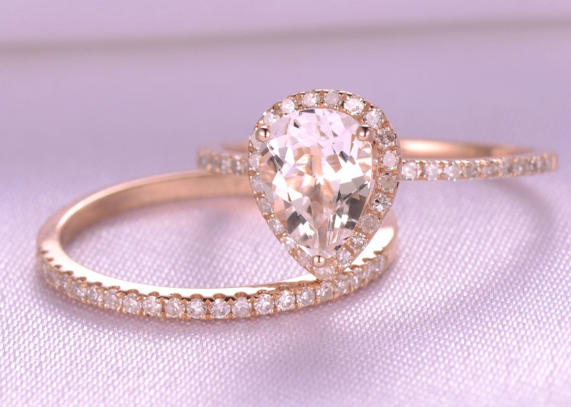 2pcs Wedding Ring Set Morganite Engagement Ring 6x8mm Pear Cut