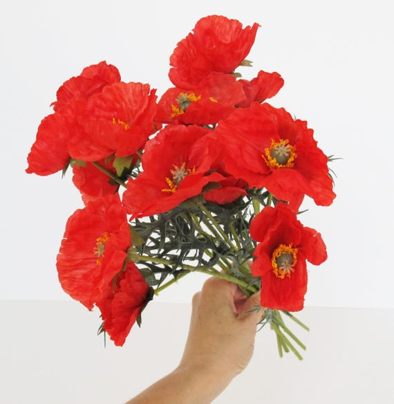 25 red poppy branches artificial flowers poppy branch windflower 25 red poppy branches artificial flowers poppy branch windflower bouquet anemone bush red green 142 floral accessory faux fabric from royalflowersstudio mightylinksfo