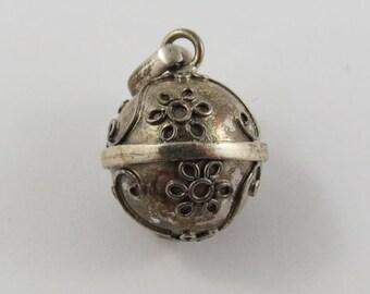 Ball With Flower Design Sterling Silver Vintage Charm For Bracelet