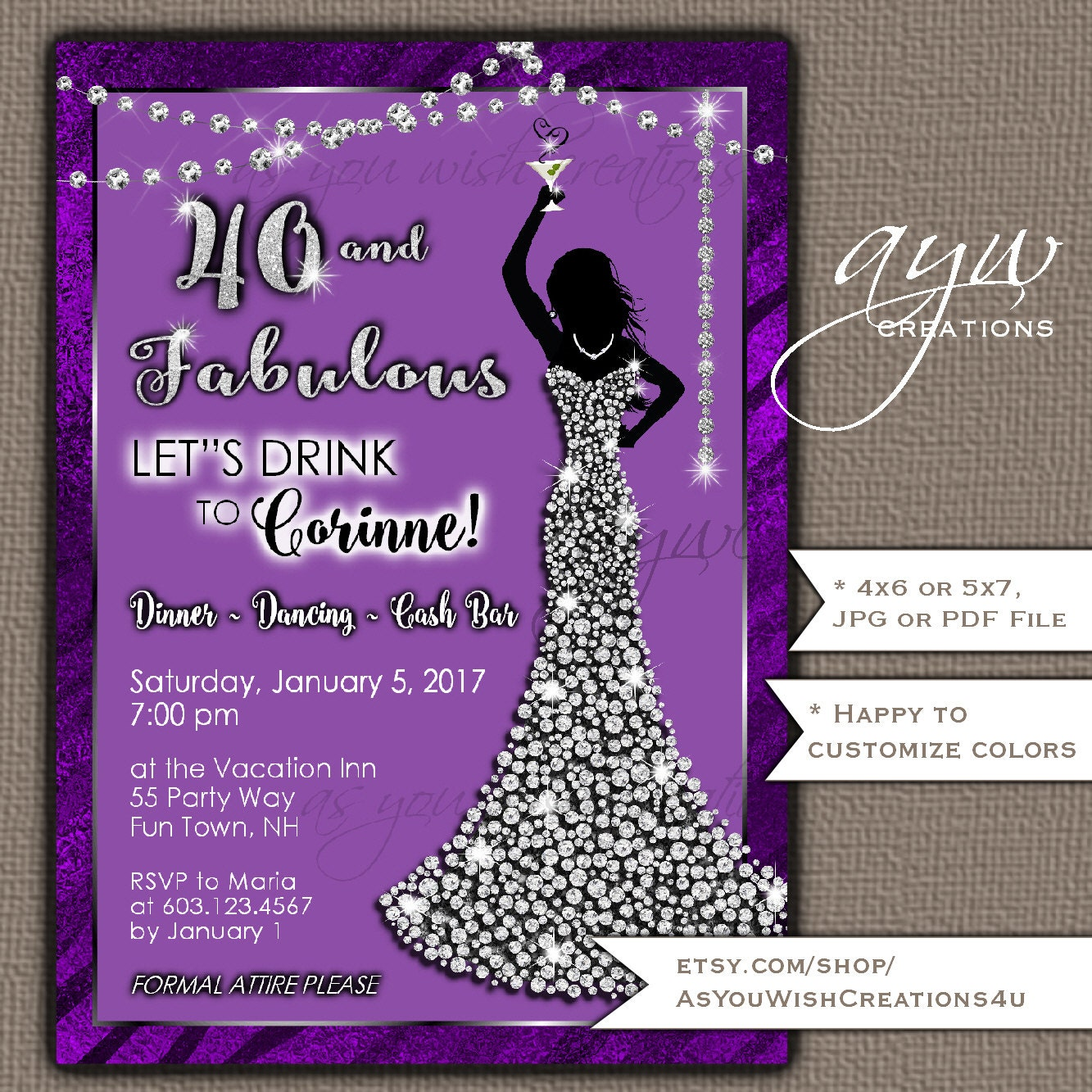 40th Birthday Party Invitations Woman Bling Dress 40th Womans