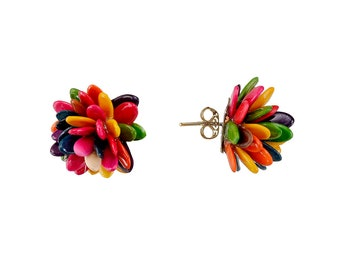 Flower earrings, sterling silver posts, one of a kind studs, multi color studs, romantic earrings, seed jewelry, unique jewelry, exotic stud