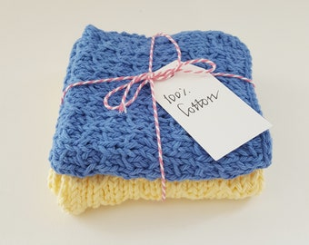 Knitted cotton washcloths - handmade dish cloths - set of two face cloths - spa cloths - muslim baby cloths - Eid