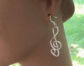 Silver Clef Note Earrings