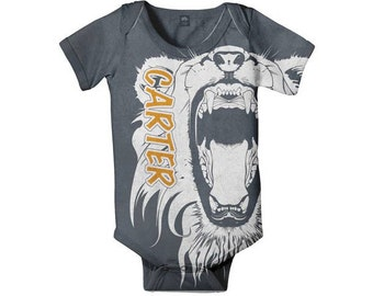 Lion Baby Bodysuit, Personalized Infant Boy Clothing, Custom Onepiece Baby Clothing, One PieceShirt