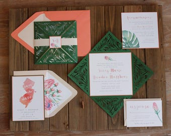 Laser Cut Tropical Greenery Wedding Invitation - Green Folder with Watercolor Banana Leaves, Protea - Fully Customizable in over 80 colors