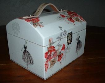 """Red and black magic"" sewing box handmade"