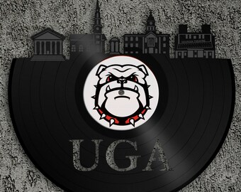 Georgia Bulldogs UGA   Athens Skyline, Georgia Bulldogs Art, Wall Art Vinyl  Record,