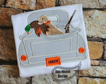 Duck hunting truck applique embroidery design