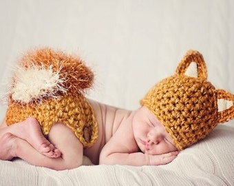 Newborn PHOTO Prop - FOX Hat and Diaper Cover- Baby - Boy - Girl - MADE to Order- Orange - Rust