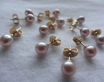 One Pair Gold Filled Metal Post or Stud Earrings Natural Pink 5mm Freshwater Pearls E37