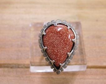 Vintage Goldstone Sterling Silver Ring Size 10 1/2