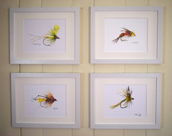 Fly Fishing Watercolor Prints, Fishing Gifts, Fly Fishing Decor, Fishing Lure, Trout Flies, Fishing Fly