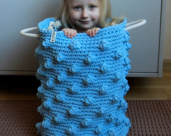 Big crochet bubble blue basket /storage basket/ Nursery basket / Children storage basket/ Toys storage/  popcorn basket/ polka dots basket
