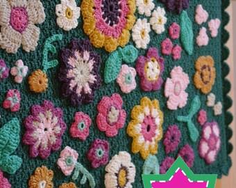 HAAKPATROON babydeken - Gehaakte babydeken met kleurrijke bloemen, Bloemendekentje voor wieg, kinderwagen, maxi cosi, PDF patroon