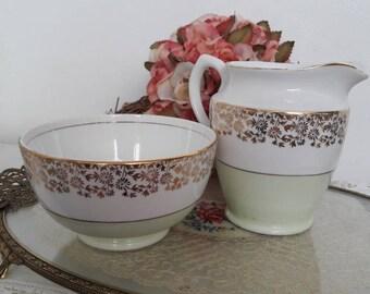 Pretty Pastel green lubern bone china milk creamer & sugar bowl set