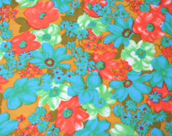 Fabric Remnants, Green Orange Floral Fabric, Three Fabric Pieces, Synthetic Fabric