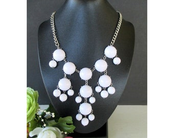 Bib Necklace * White Cabochon Beads * Statement Necklace * Drop Dangle Necklace * Classic Vintage