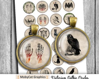 Victorian Gothic 12mm 14mm 16mm 18mm Printable images for Pendants Earrings  Digital Collage Sheet Instant Download