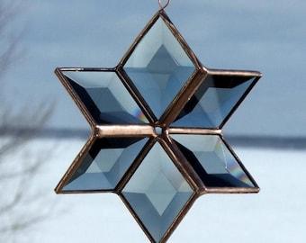 3D Grey and Copper Beveled Glass Star Suncatcher
