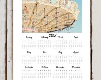 Carnival Print Calendar, 2018 Calendar, Calendar Gift Idea Under 25, Year At A Glance Calendar, Wall Calendar, Pastel Calendar, Cyber Monday